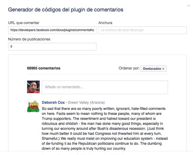 Obtener código Facebook Comments