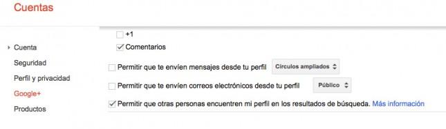 Configuración del perfil de google plus