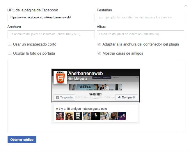 configurar facebook fan box