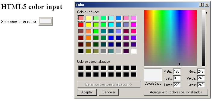 html5 color input  paleta de colores hexadecimal para formularios