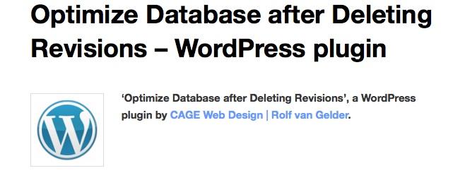 optimize db para optimizar la base de datos de WordPress