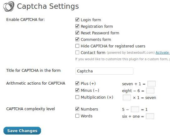 plugins de captcha para WordPress