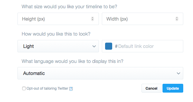 configurar timeline widget twitter
