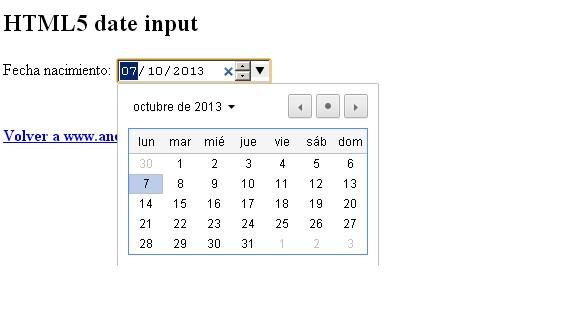 date input html5