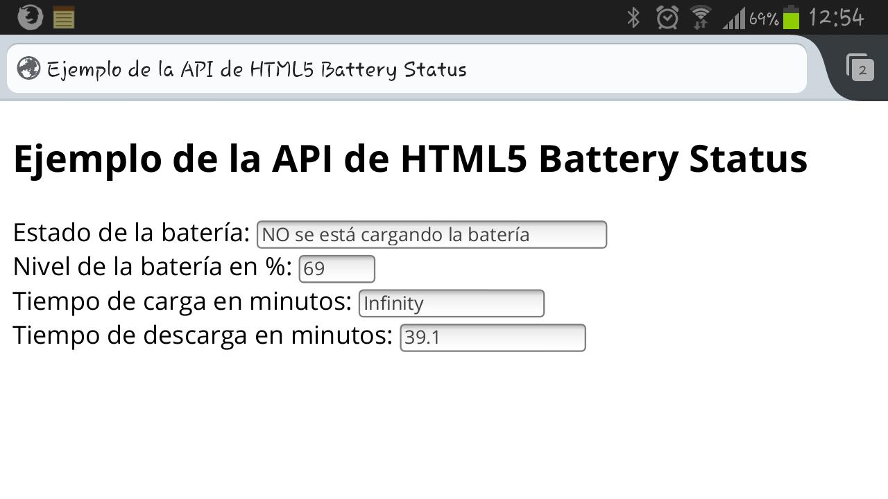 battery status api html5