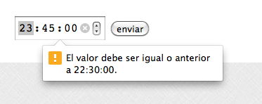mensajes time input html5