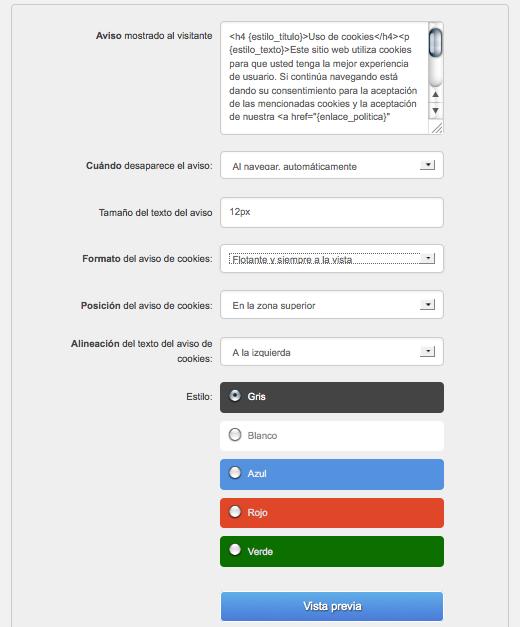 administración plugin ley proteccion datos cookies ley españoola