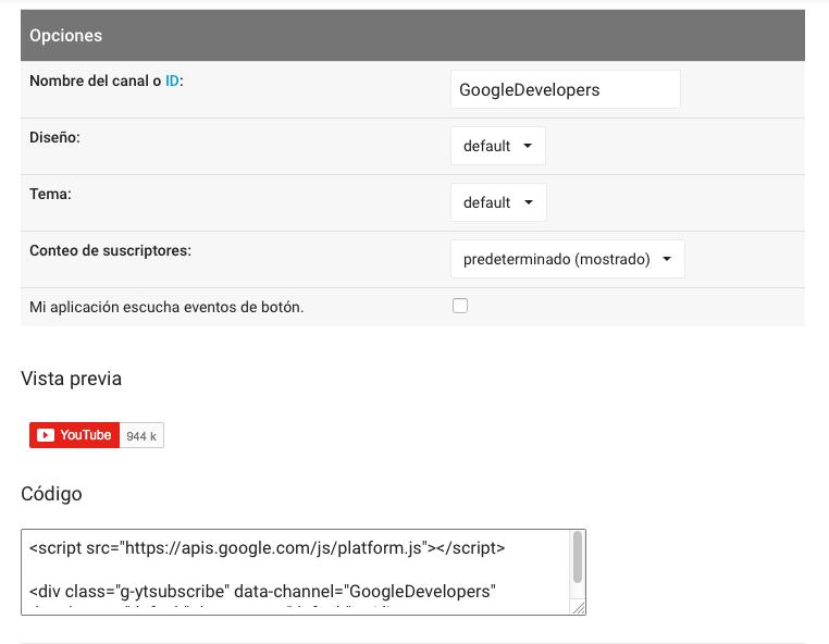 opciones botón Youtube