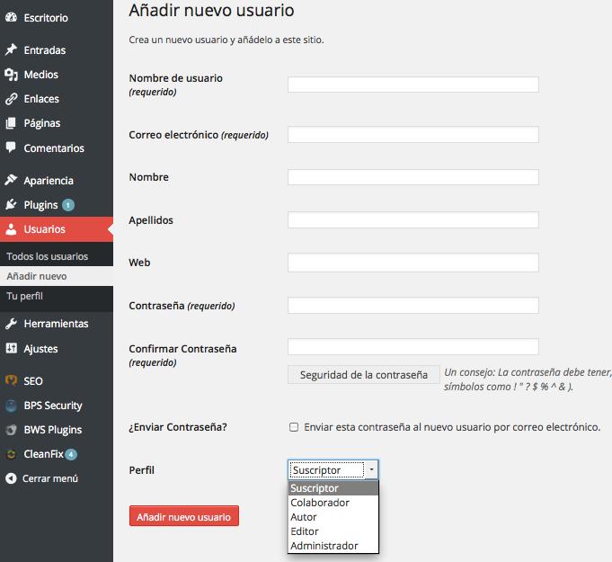 Formulario para agregar nuevos usuarios en WordPress