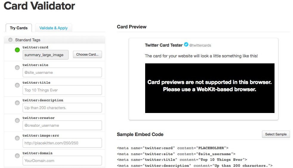 twitter cards validator