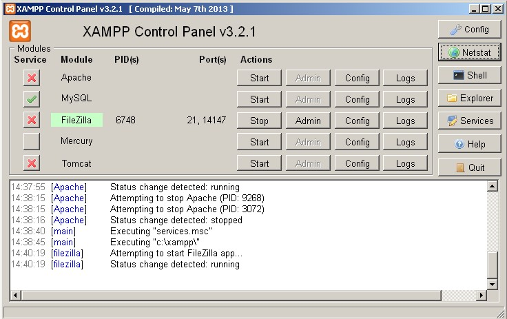 panel xampp windows
