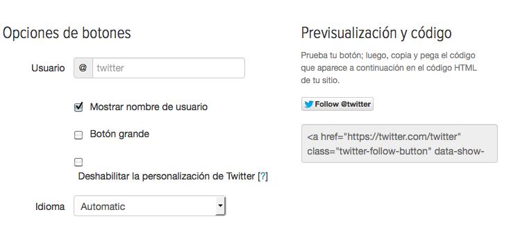 Botón de seguir en Twitter