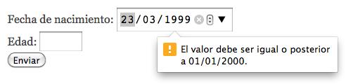 validación date input