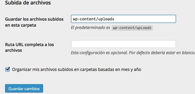 cambiar el directorio uploads de WordPress
