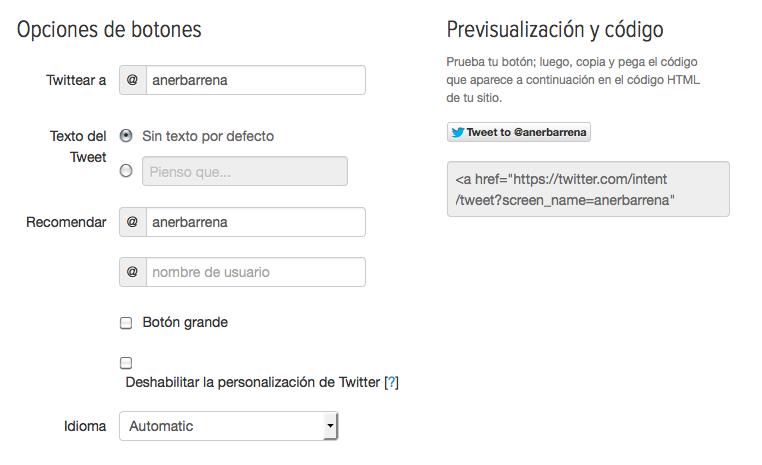 configuración botón mencionar twitter