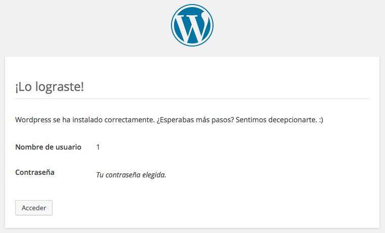 finalizada instalación WordPress