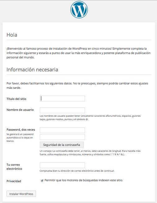finalizar instalación WordPress