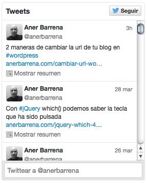 timeline twitter widget