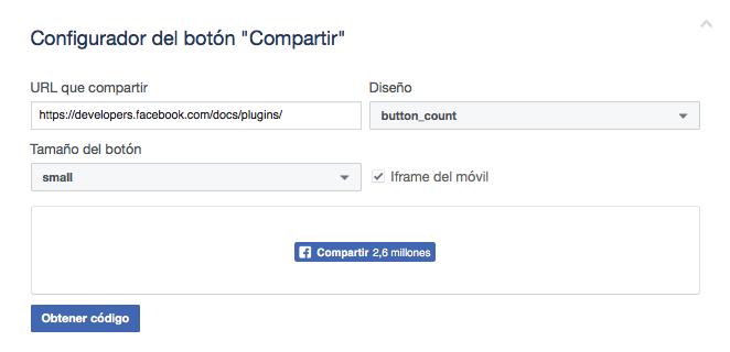 Configurar el botón de compartir en Facebook