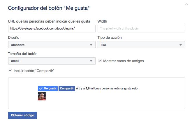"""botón """"Me gusta"""" de Facebook"""