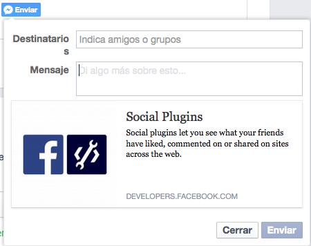 botón de enviar Facebook