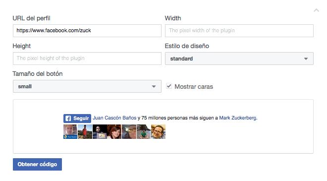 configurar el botón de seguir en Facebook