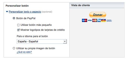 personalizar botón PayPal