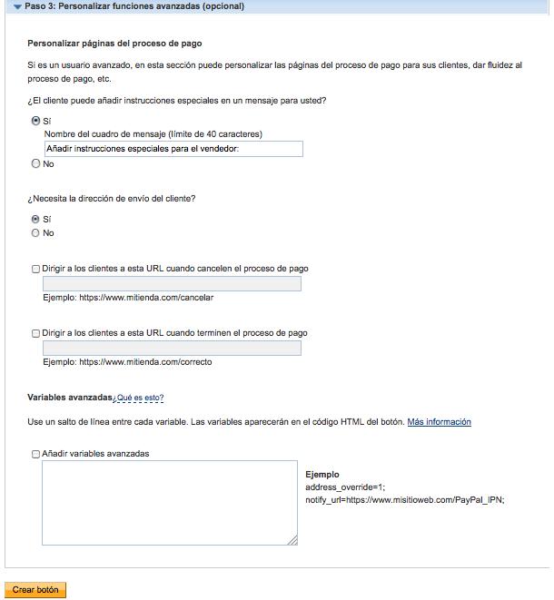 personalizar funciones avanzadas botón PayPal