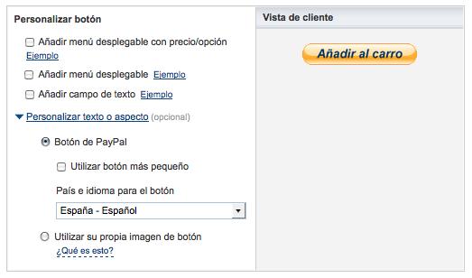 personalizar botón añadir carro PayPal
