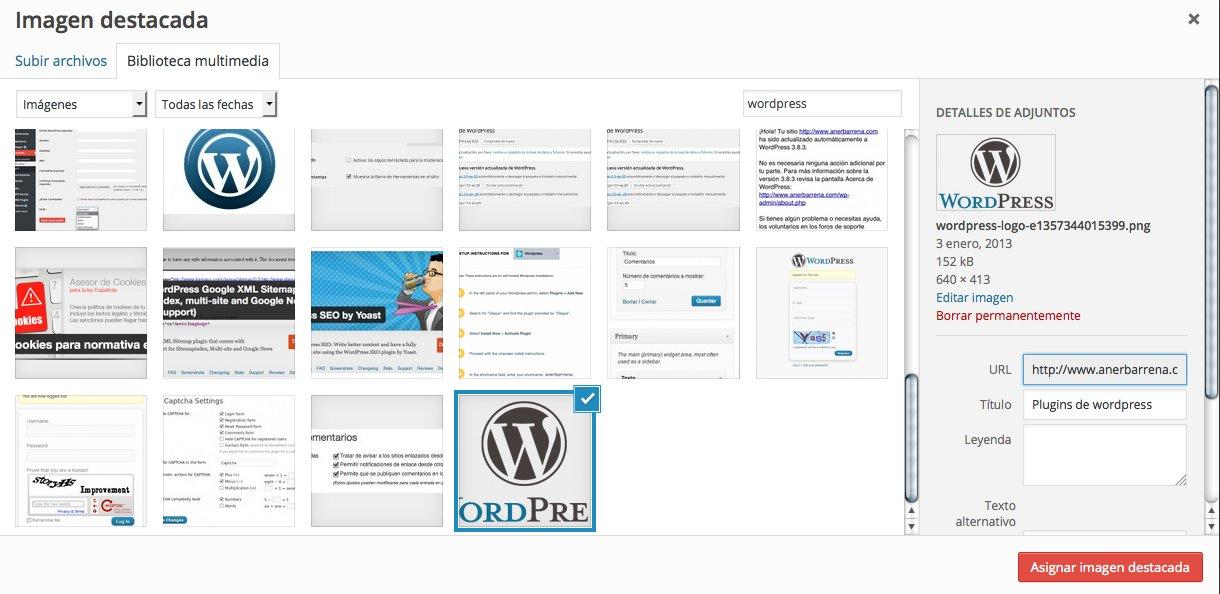 asignacion imagen destacada WordPress
