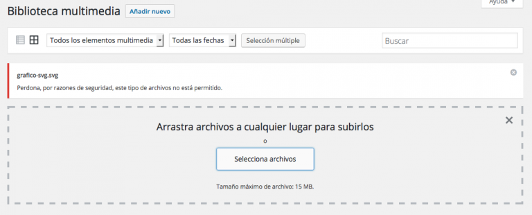 subir imágenes SVG en WordPress