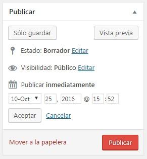 programar entradas en WordPress