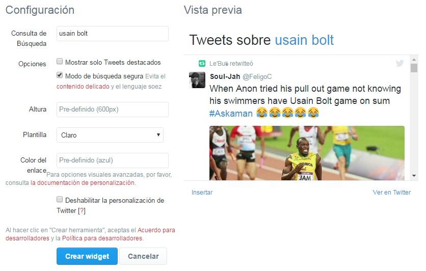 crear el widget de Twitter de búsquedas