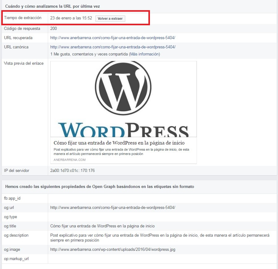 Depurador de errores de Facebook - Cómo eliminar la cache de los post de Facebook