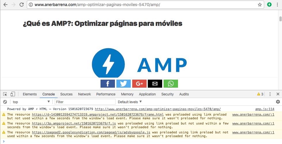 Validación AMP desde la consola de Gogle Chrome