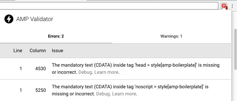 Error de validación página AMP con extensión Chrome