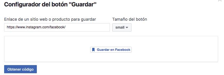 botón de guardar en Facebook