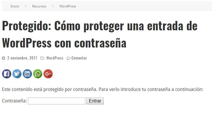 Ejemplo de contraseña en una entrada de WordPress