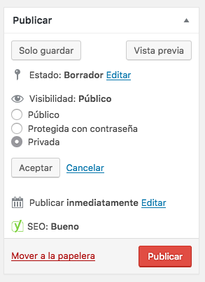 hacer privada una entrada de WordPress