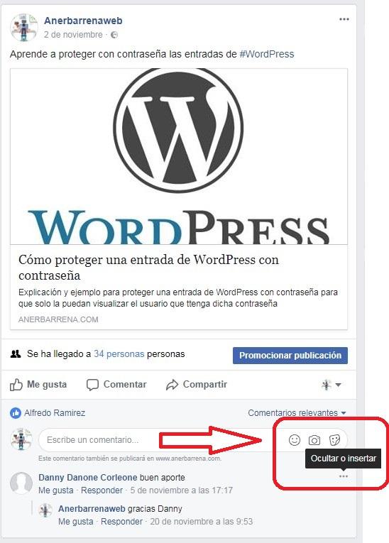 Insertar comentarios realizados en Facebook