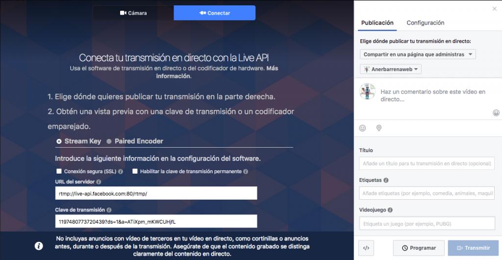 Clave de transmisión Facebook Live con OBS