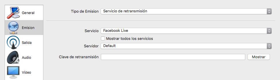 Configuración del servicio de retransmisión de OBS para Facebook Live