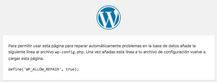 define('WP_ALLOW_REPAIR', true);