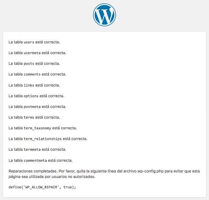 Cómo reparar las tablas de la base de datos de WordPress