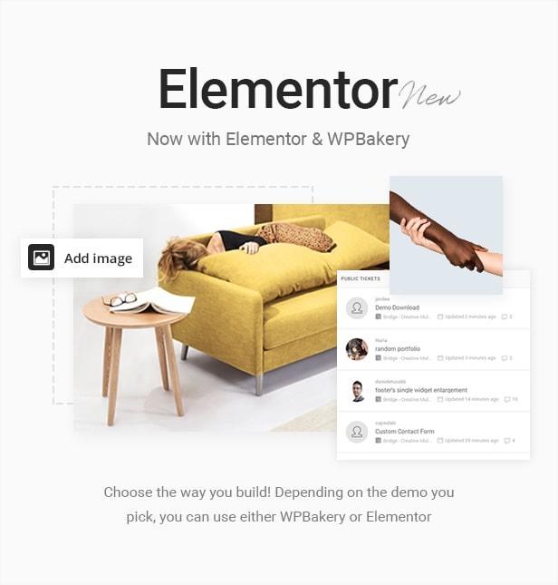 Bridge WordPress Theme con editores Elementor y WPBakery