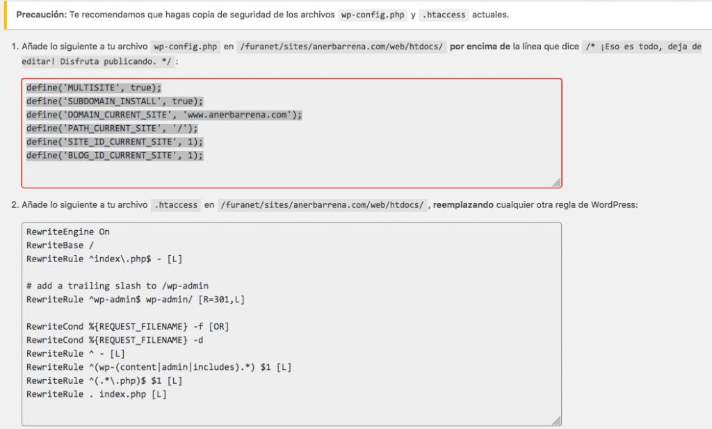 WordPress Multisite configuración