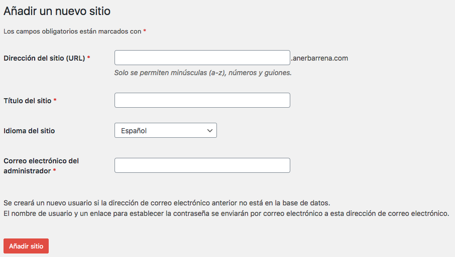 Nuevo sitio WordPress Multisite